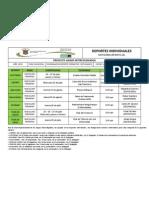 Programación Deporte Individuales Juegos Intercolegiados Categoría A
