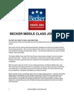 Becker Middle Class Jobs Plan