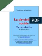 SAINT-SIMON, Claude H de Rouvroy Conde de - La Physiologie Sociale, Oeuvres Choisis