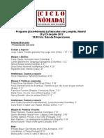 Programa - Schedule [CICLO NÓMADA]
