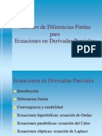 Métodos de Diferencias Finitas  para  Ecuaciones en Derivadas Parciales