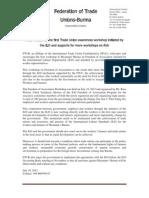2012 July 22 FTUB Statement on Freedom of Association Workshop in Myanmar _English Version