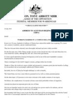 Tony Abbott speech in China