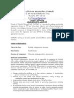 Tors for Fonnap Administrative Assistant
