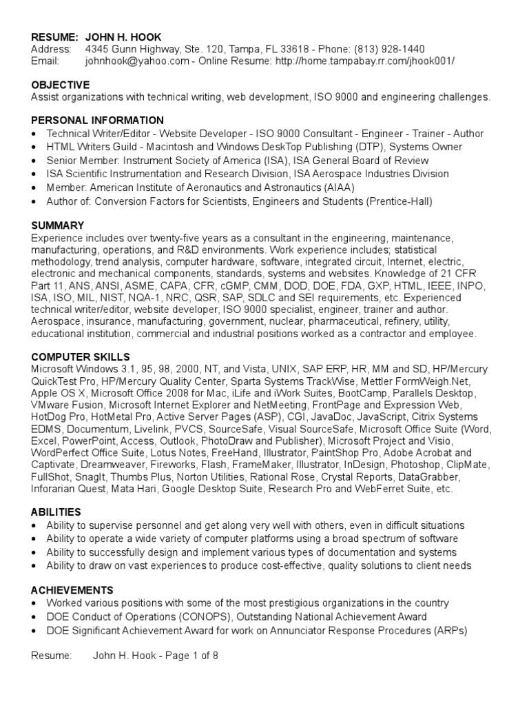 John Hook Resume 10 Jul 08 | Medical Device | Specification ...
