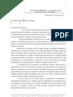 CARTA ENTREGADA A LOS AUTORES DEL PROYECTO, RUEDA, BASTEIRO Y RAFFO CON COPIA A SOLANAS