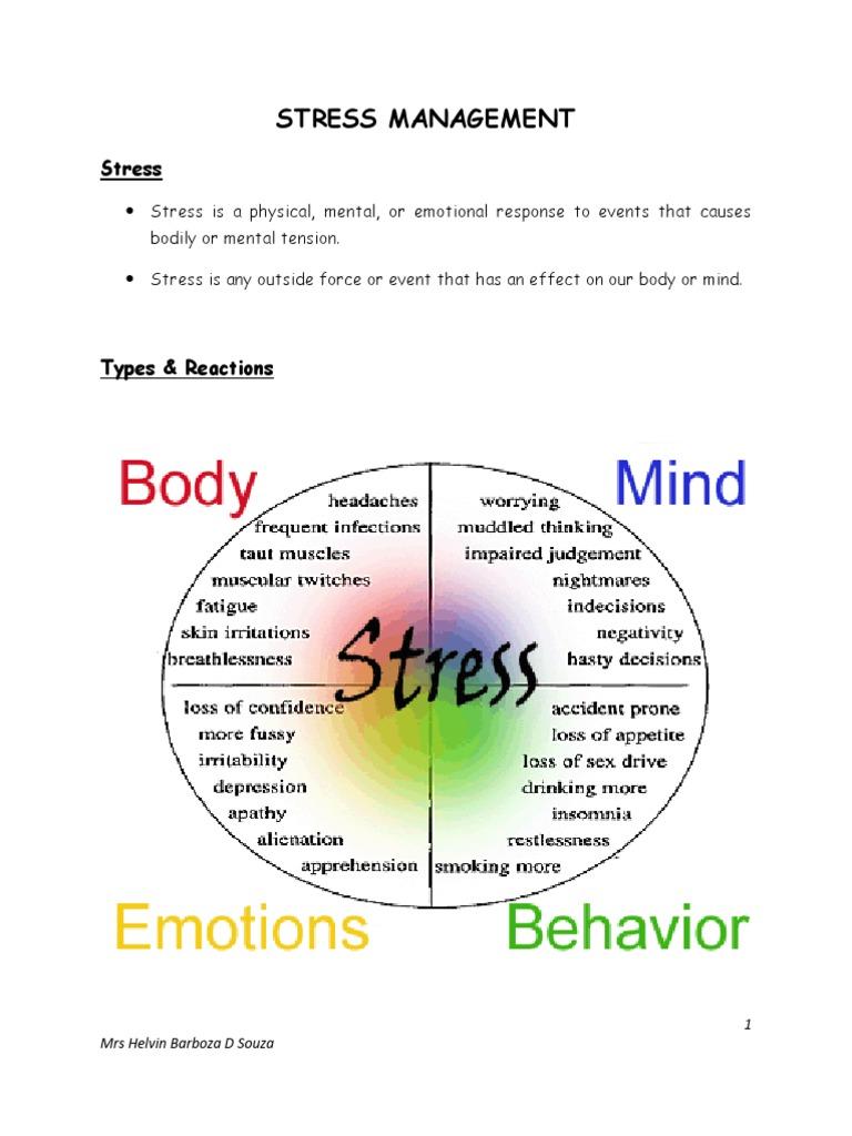 Stress Management Handout   Coping (Psychology)   Stress ...