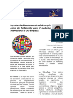 Importancia del entorno cultural de un país como eje fundamental para el marketing internacional de una Empresa