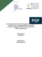 Matematica Programa Titularizare 2010 p
