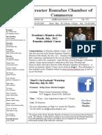 Romulus Chamber of Commerce July 2012 Newsletter