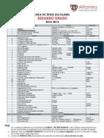 LISTA DE TEXTOS Y ÚTILES - 2° GRADO 2012-2013