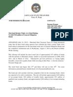 Press Release Credit Rating for 8-1-12 Bond Sale