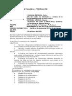 INFORME FINAL DE LAS PRÁCTICAS PRE PROFESIONALES 1