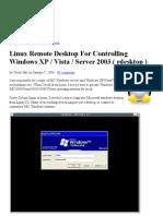 Linux Remote Desktop for Controlling Windows XP _ Vista _ Server 2003 ( Rdesktop )