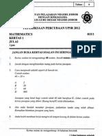 Percubaan Upsr Johor 2012 - Matematik Kertas 1