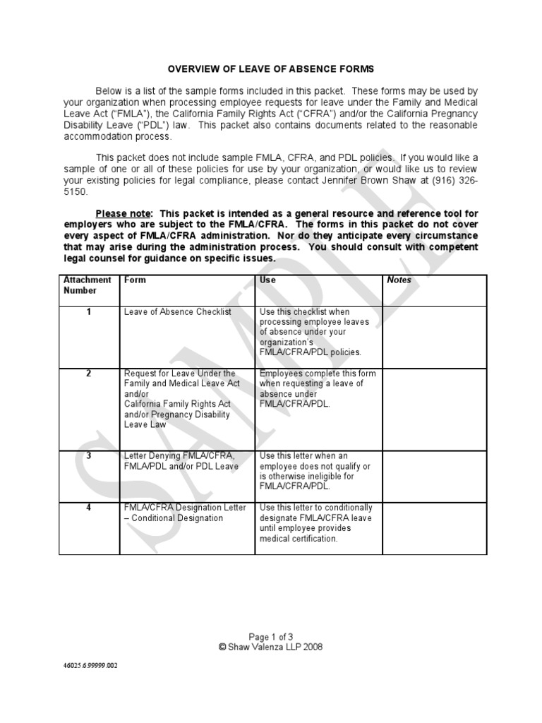 Leave Of Absence Sample Forms And Letters 00046025 6 Family And