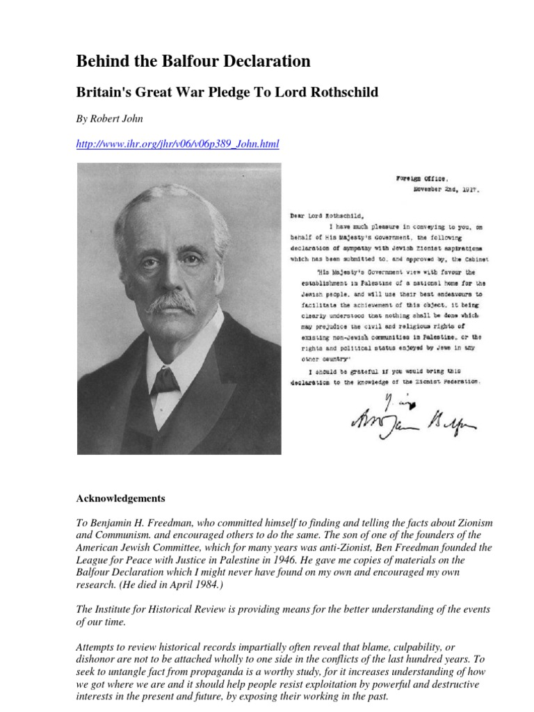 Behind The Balfour Declaration Britains Great War Pledge To Lord