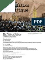 CSRG the Politics of Critique Conference Programme