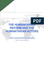 D1 SB Humanitarian Reform and Actors