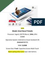 Tablet Full Spec