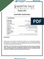 Martin 1501X Paper Folder Manual