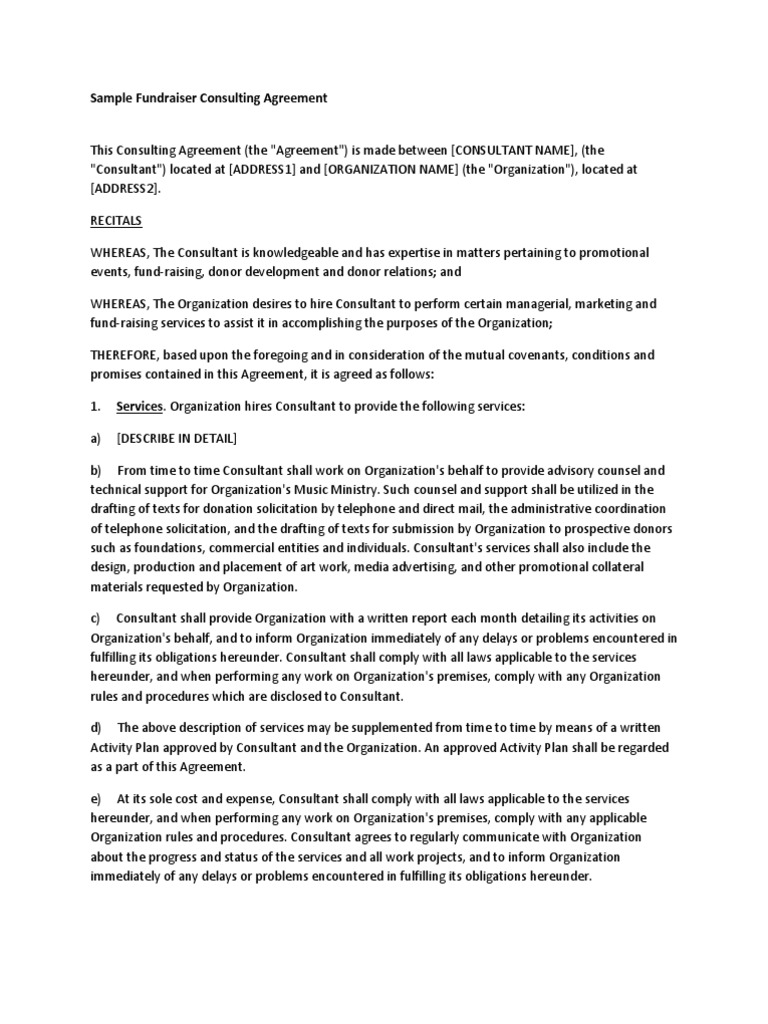 Fundraiser Consulting Agreement | Arbitration | Indemnity