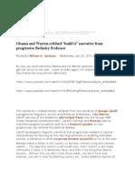 "Obama and Warren cribbed ""build it"" narrative from progressive Berkeley Professor"