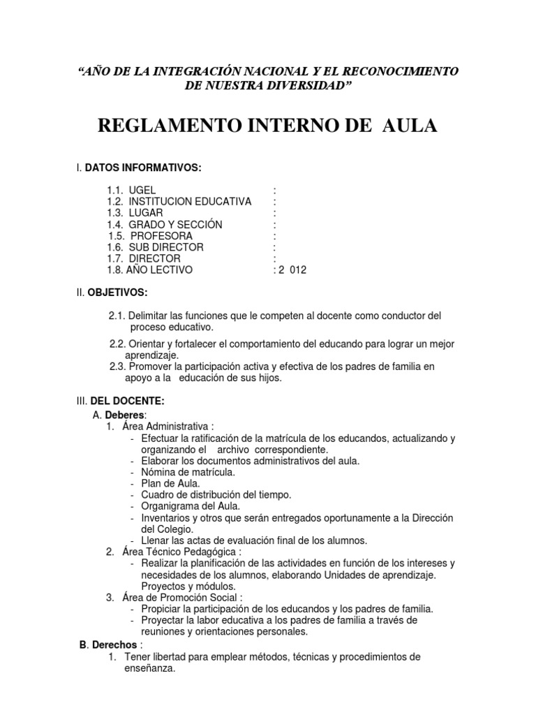 reglamento interno primaria