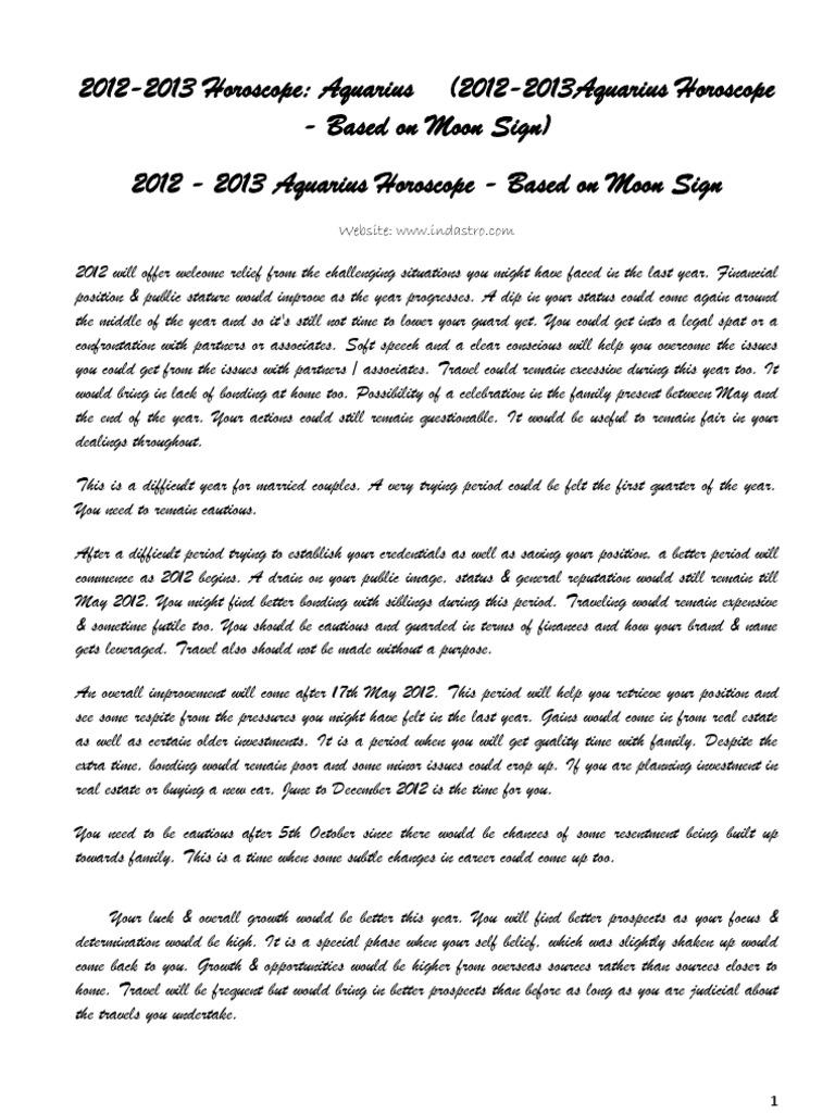 Aquarius Moon Sign Horoscope Year 2012 Prediction    Anger