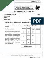Percubaan Upsr Johor 2012 - Bahasa Inggeris Kertas 2