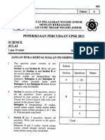 Percubaan Upsr Johor 2012 - Sains Bahagian A