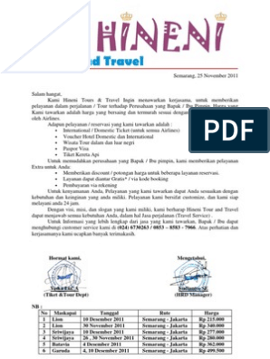 Surat Penawaran Kerjasama Hineni Tour And Travel