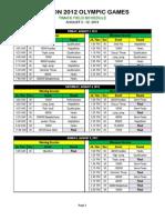 Track & Field Schedule - London Olympics 2012