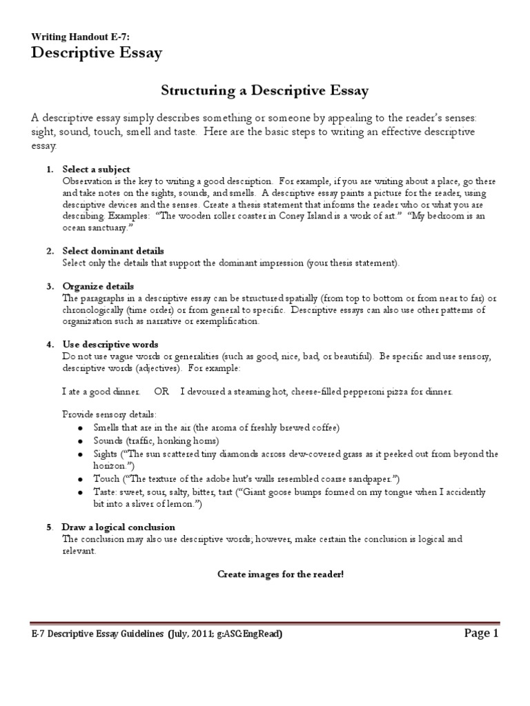 e descriptive essay guidelines taste essays