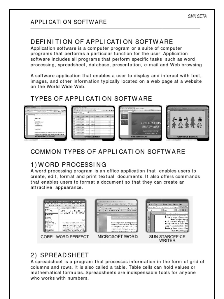 application software | spreadsheet | application software
