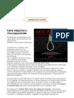 Fate Presto!!! #occupysuicide > Comunicato Stampa