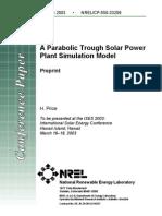 A Parabolic Trough Solar Power Plant Simulation Model
