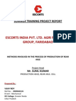 Escorts Summer Training Project Report