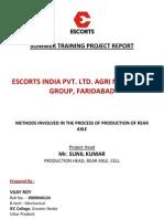 Escorts Summer Training Project Report