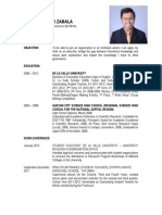 Jayson Donor Zabala Resume as of 22-24 September 2011