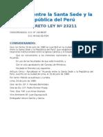 DL 23211 CONCORDATO IMPUESTO POR EL VATICANO AL PERU