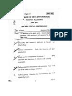 IGNOU B.A Psychology, Question Paper, BPC-006,June 2012