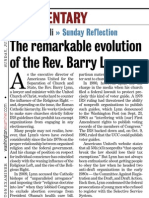 """The Remarkable Evolution of the Rev. Barry Lynn"" by Dimitri Cavalli in the Washington Examiner (June 24, 2012), p. 30"
