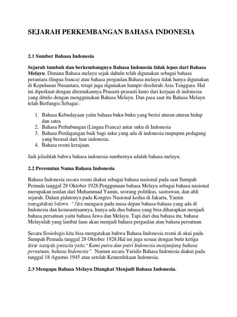 Bahasa Melayu Menjadi Bahasa Indonesia Goreng