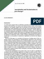 Christianisation, Democratization and Secularisation CE Europe