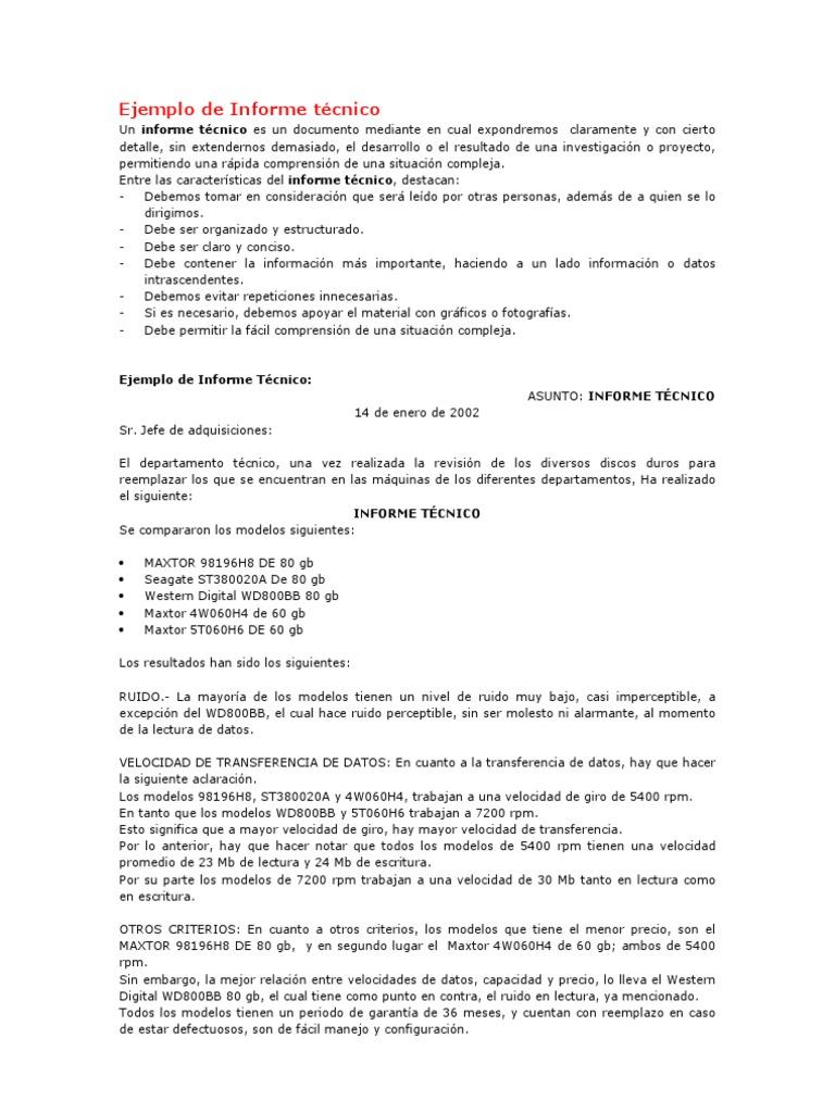 Ejemplo de informe t cnico for Proyecto tecnico ejemplos