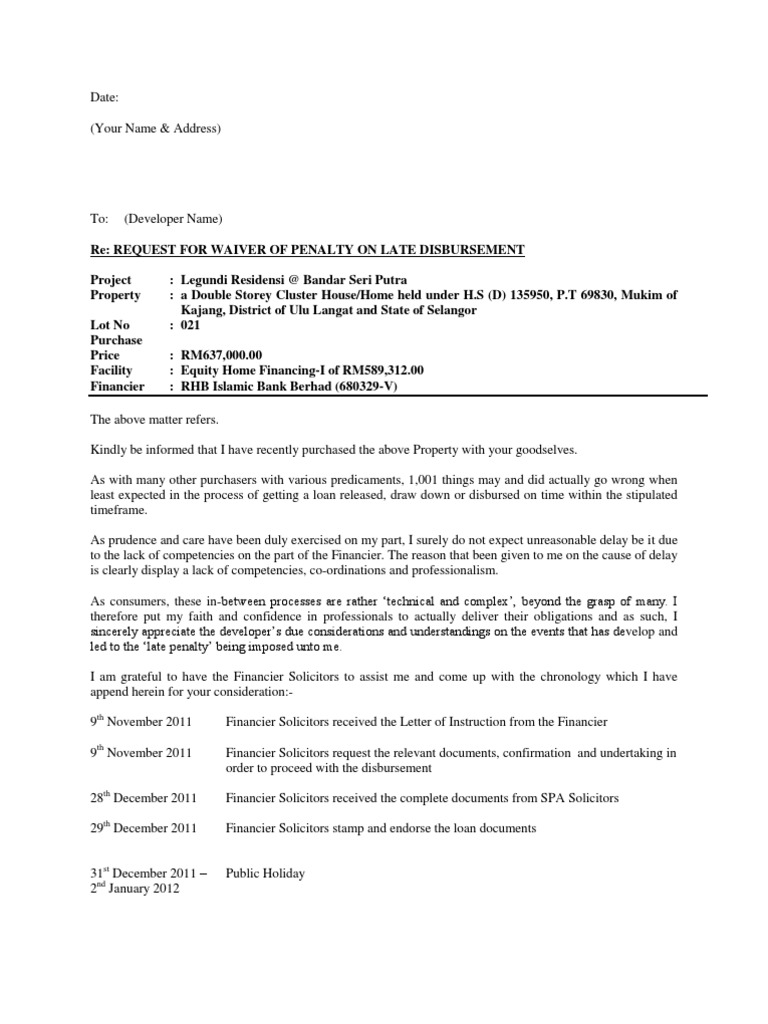 Letter Request Waiver On Penalty Interest