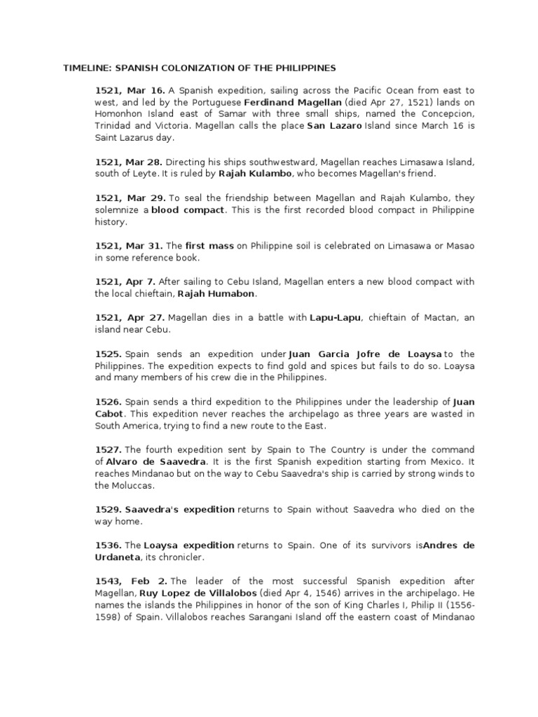 the spanish colonization in the philippines Colonization of the philippines this timeline shows the series of major events that happened from 1521 to 1945 during this period of time, the philippines was colonized by the spanish and the americans and was occupied by other countries as well.