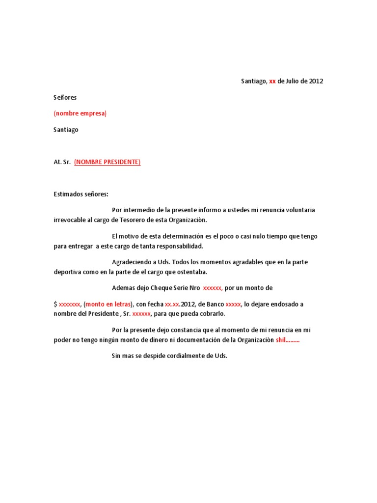 Formato carta renuncia tesorero