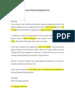 General Purpose Resignation Letter